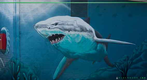 great white shark mural
