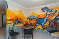 office graffiti mural