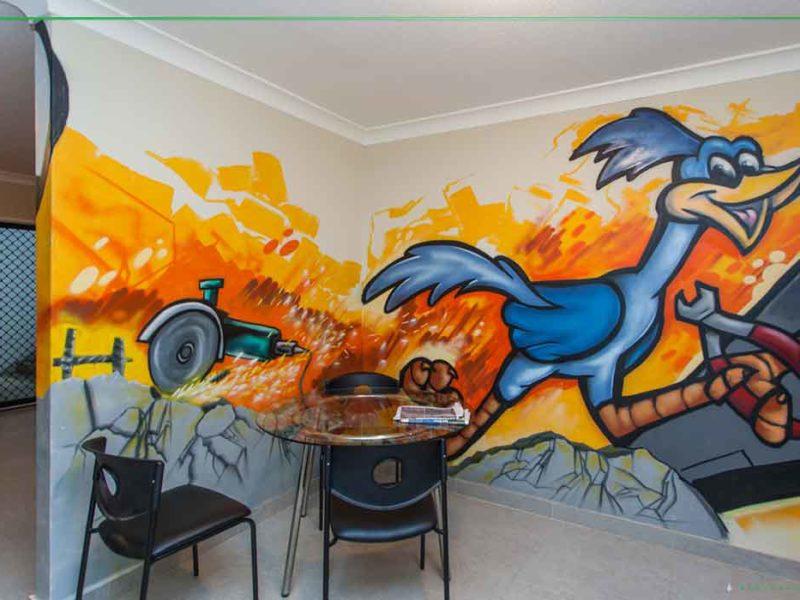 office graffiti mural