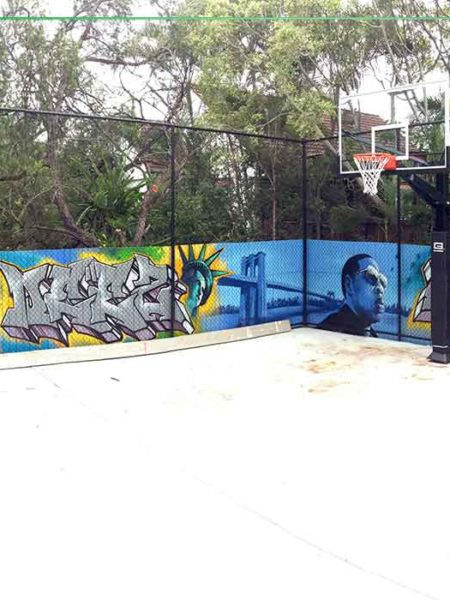 backyard basketball mural