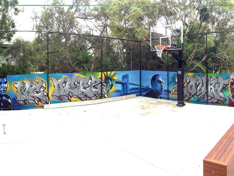 Backyard basketball mural blackbook ink brisbane for Basketball court mural