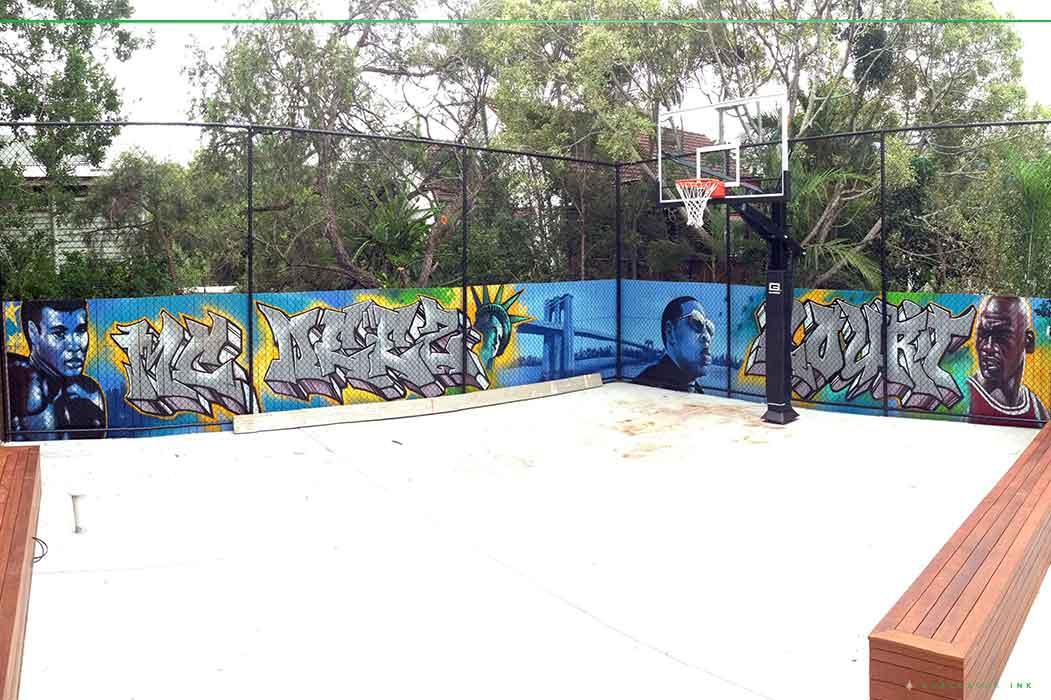 backyard basketball mural