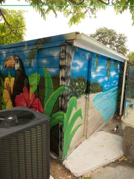pool shed street art mural