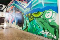 graffiti artist paints office