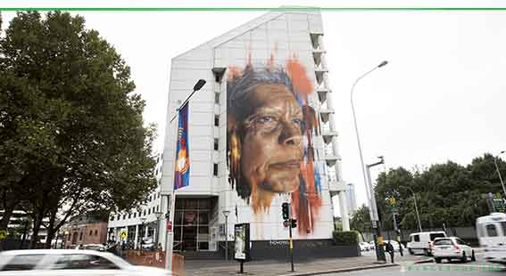 Adnate mural of Jenny Munro in Haymarket, Sydney