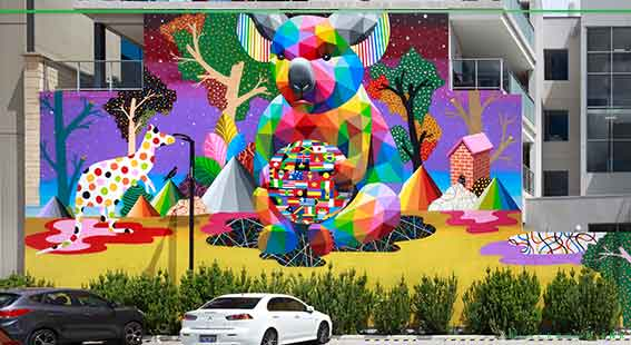 Mural painted by Okudart in Subiaco