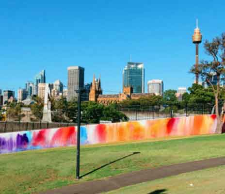 Abstract mural painted at the Domain in Sydney